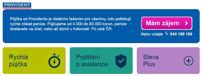 Provident.cz homepage